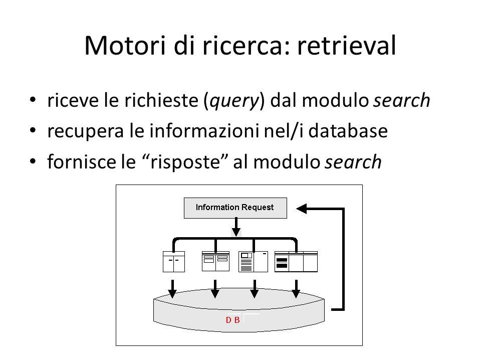 Motori di ricerca: retrieval riceve le richieste (query) dal modulo search recupera le informazioni nel/i database fornisce le risposte al modulo search
