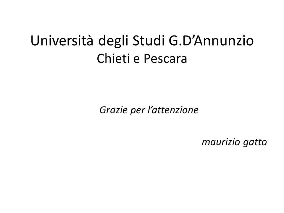 Università degli Studi G.DAnnunzio Chieti e Pescara Grazie per lattenzione maurizio gatto