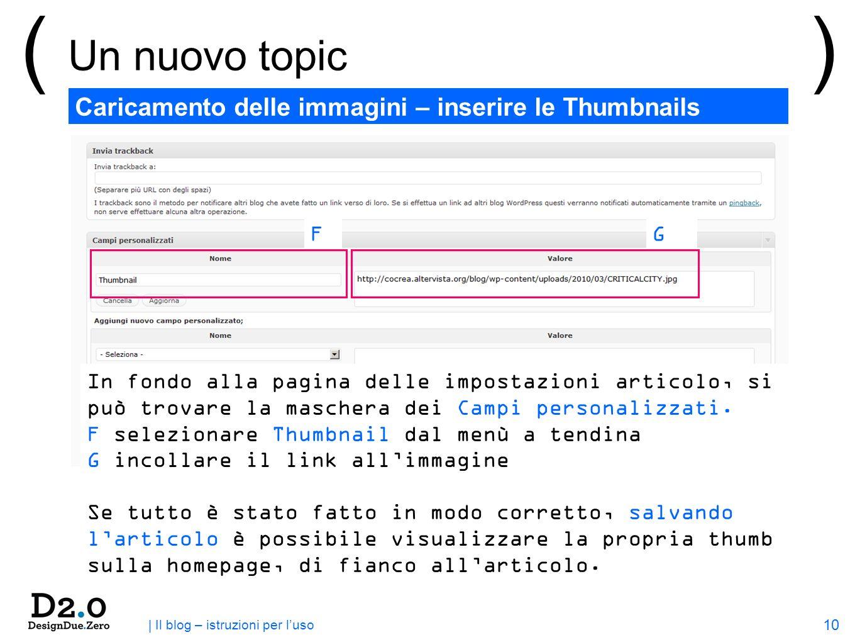 10 | Il blog – istruzioni per luso ( Un nuovo topic ) Caricamento delle immagini – inserire le Thumbnails FG In fondo alla pagina delle impostazioni articolo, si può trovare la maschera dei Campi personalizzati.