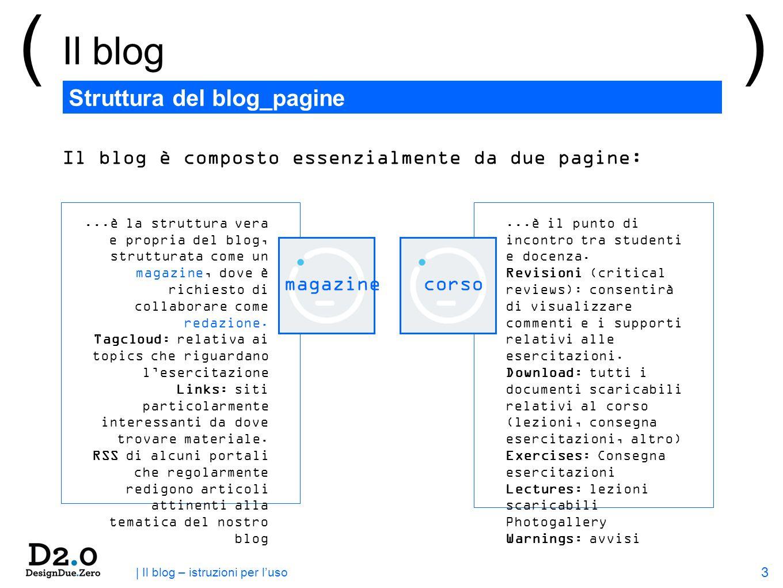 3 | Il blog – istruzioni per luso Struttura del blog_pagine () Il blog magazinecorso Il blog è composto essenzialmente da due pagine:...è la struttura vera e propria del blog, strutturata come un magazine, dove è richiesto di collaborare come redazione.