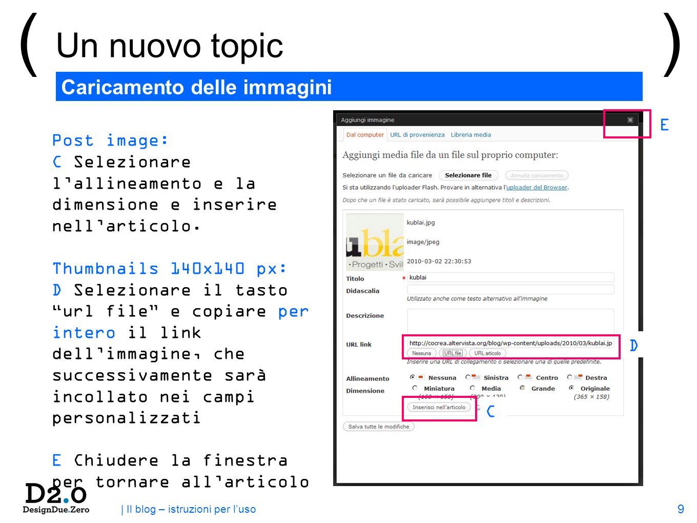 9 | Il blog – istruzioni per luso ( Un nuovo topic ) Caricamento delle immagini Post image: C Selezionare lallineamento e la dimensione e inserire nellarticolo.