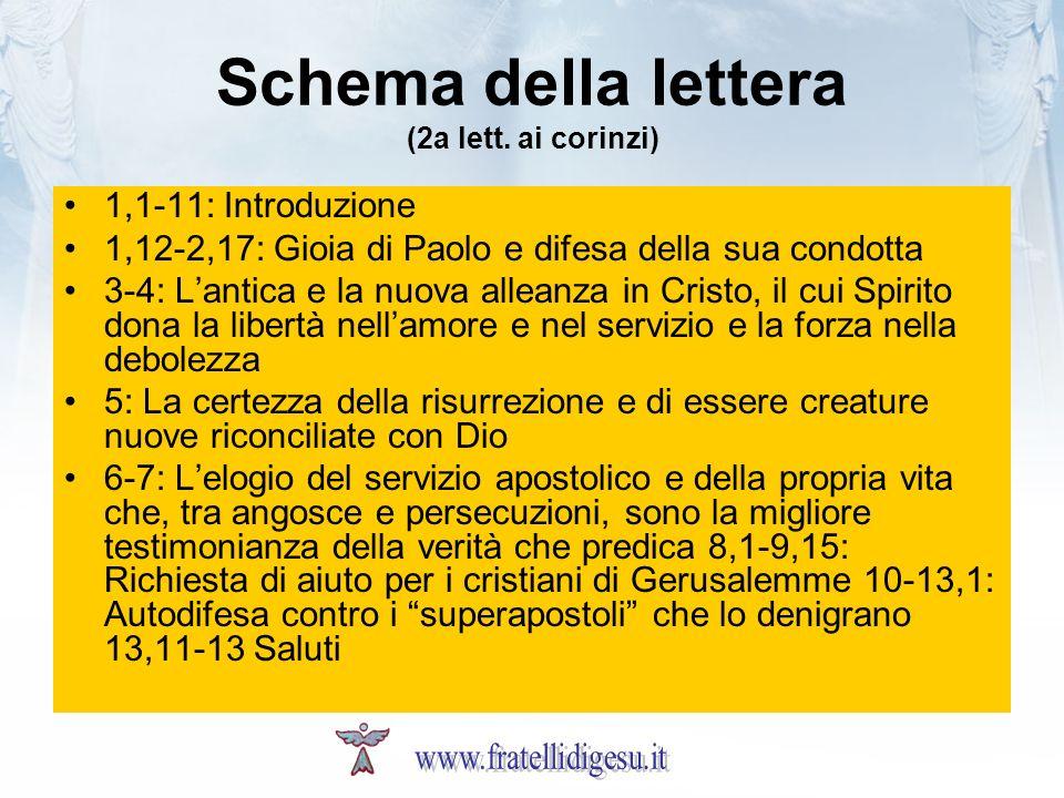 Schema della lettera (2a lett. ai corinzi) 1,1-11: Introduzione 1,12-2,17: Gioia di Paolo e difesa della sua condotta 3-4: Lantica e la nuova alleanza