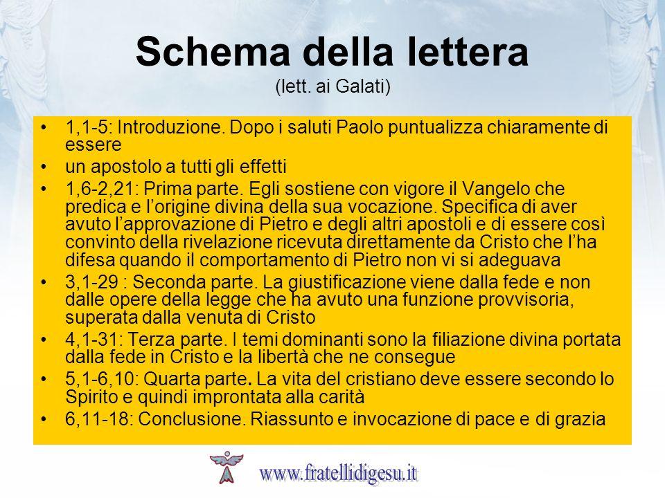 Schema della lettera (lett. ai Galati) 1,1-5: Introduzione. Dopo i saluti Paolo puntualizza chiaramente di essere un apostolo a tutti gli effetti 1,6-