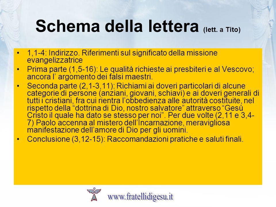 Schema della lettera (lett. a Tito) 1,1-4: Indirizzo. Riferimenti sul significato della missione evangelizzatrice Prima parte (1,5-16): Le qualità ric