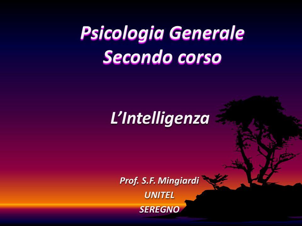 Prof. S.F. Mingiardi UNITELSEREGNO UNITELSEREGNO LIntelligenzaLIntelligenza Psicologia Generale Secondo corso
