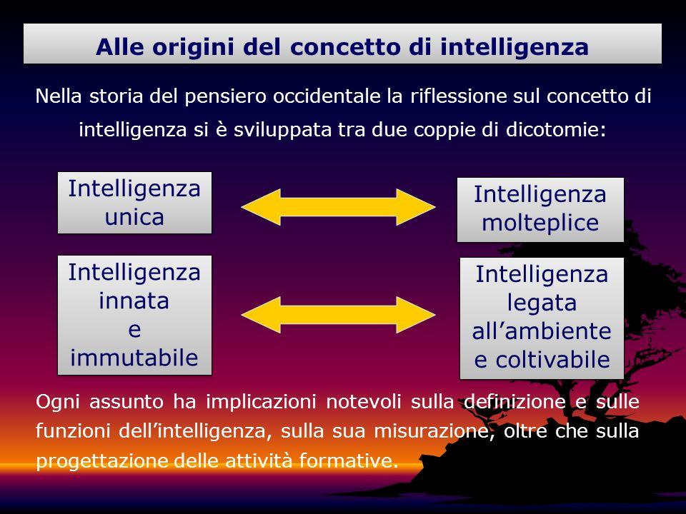 Alle origini del concetto di intelligenza Nella storia del pensiero occidentale la riflessione sul concetto di intelligenza si è sviluppata tra due co