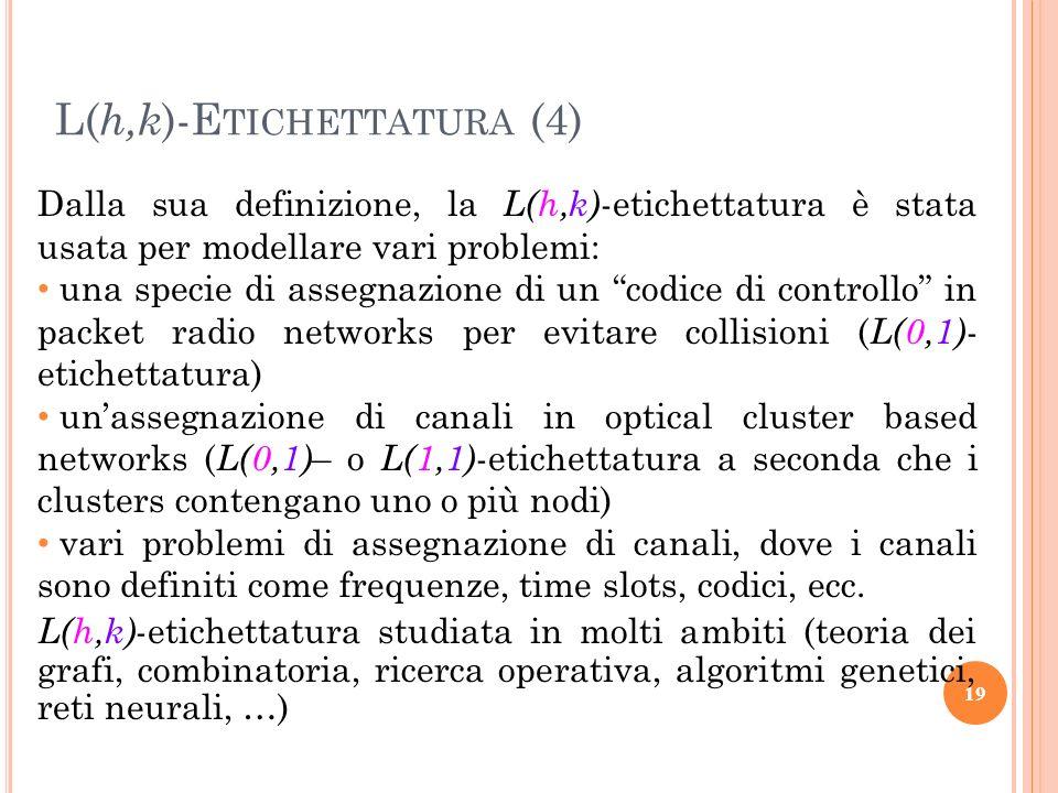 Dalla sua definizione, la L(h,k) -etichettatura è stata usata per modellare vari problemi: una specie di assegnazione di un codice di controllo in pac