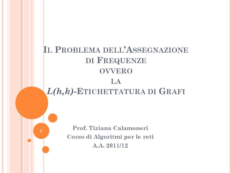 2 I L P ROBLEMA DELL A SSEGNAZIONE DI F REQUENZE OVVERO LA L(h,k)- E TICHETTATURA DI G RAFI Prof. Tiziana Calamoneri Corso di Algoritmi per le reti A.