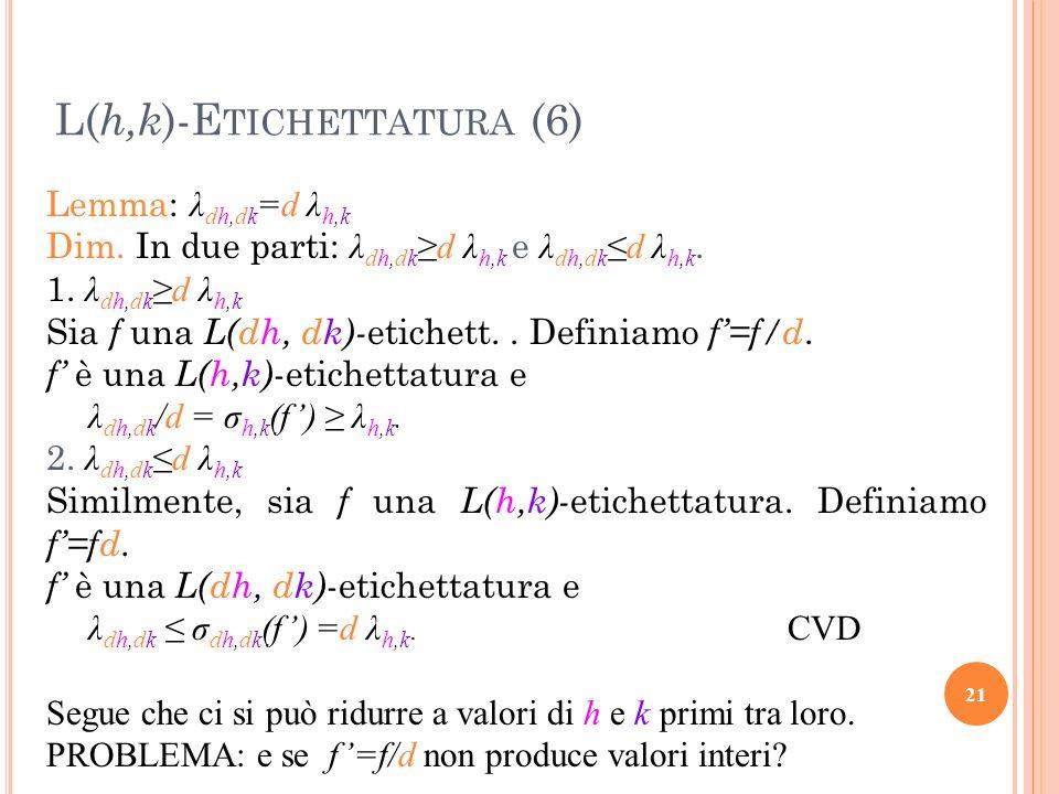 Lemma: λ dh,dk =d λ h,k Dim. In due parti: λ dh,dkd λ h,k e λ dh,dkd λ h,k. 1. λ dh,dkd λ h,k Sia f una L(dh, dk)- etichett.. Definiamo f=f/d. f è una