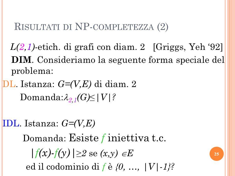 R ISULTATI DI NP- COMPLETEZZA (2) L(2,1)- etich. di grafi con diam. 2 [Griggs, Yeh 92] DIM. Consideriamo la seguente forma speciale del problema: DL.