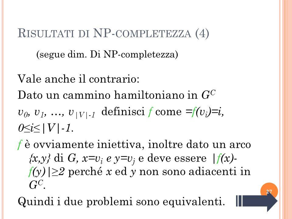 R ISULTATI DI NP- COMPLETEZZA (4) (segue dim. Di NP-completezza) Vale anche il contrario: Dato un cammino hamiltoniano in G C v 0, v 1, …, v |V|-1 def