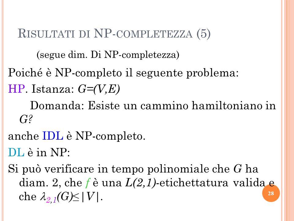 R ISULTATI DI NP- COMPLETEZZA (5) (segue dim. Di NP-completezza) Poiché è NP-completo il seguente problema: HP. Istanza: G=(V,E) Domanda: Esiste un ca