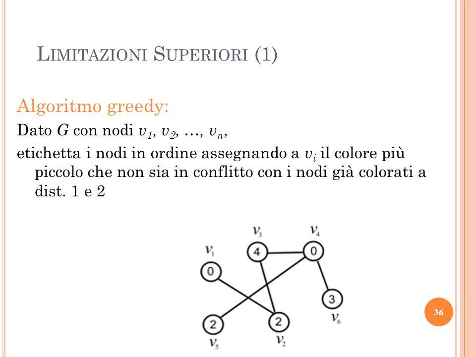 Algoritmo greedy: Dato G con nodi v 1, v 2, …, v n, etichetta i nodi in ordine assegnando a v i il colore più piccolo che non sia in conflitto con i n