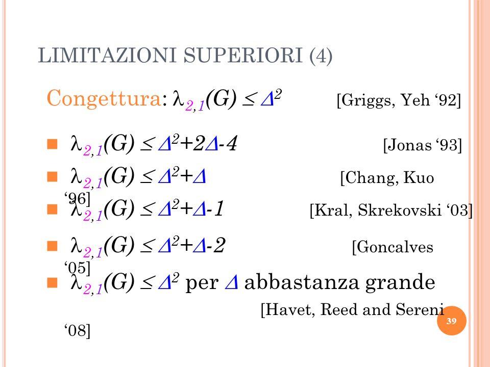 Congettura: 2,1 (G) 2 [Griggs, Yeh 92] 2,1 (G) 2 +2 -4 [Jonas 93] 2,1 (G) 2 + [Chang, Kuo 96] 2,1 (G) 2 + -1 [Kral, Skrekovski 03] 2,1 (G) 2 + -2 [Gon