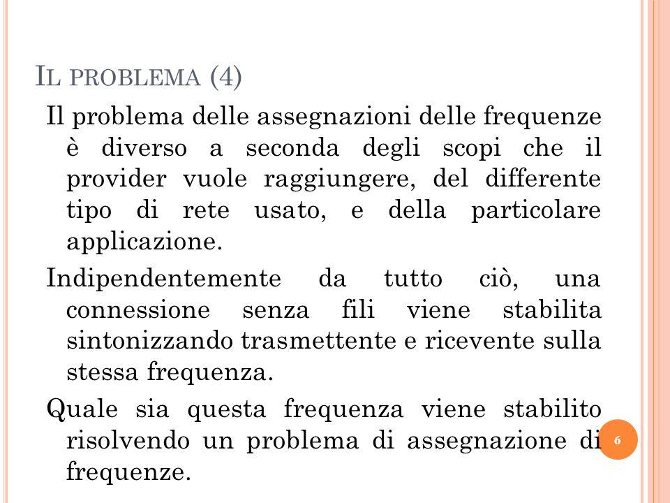 Il problema delle assegnazioni delle frequenze è diverso a seconda degli scopi che il provider vuole raggiungere, del differente tipo di rete usato, e