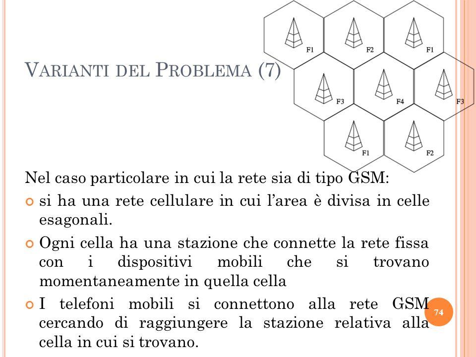Nel caso particolare in cui la rete sia di tipo GSM: si ha una rete cellulare in cui larea è divisa in celle esagonali. Ogni cella ha una stazione che
