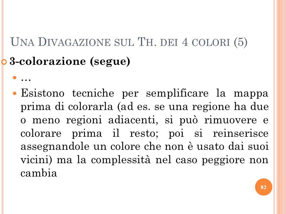 3-colorazione (segue) … Esistono tecniche per semplificare la mappa prima di colorarla (ad es. se una regione ha due o meno regioni adiacenti, si può