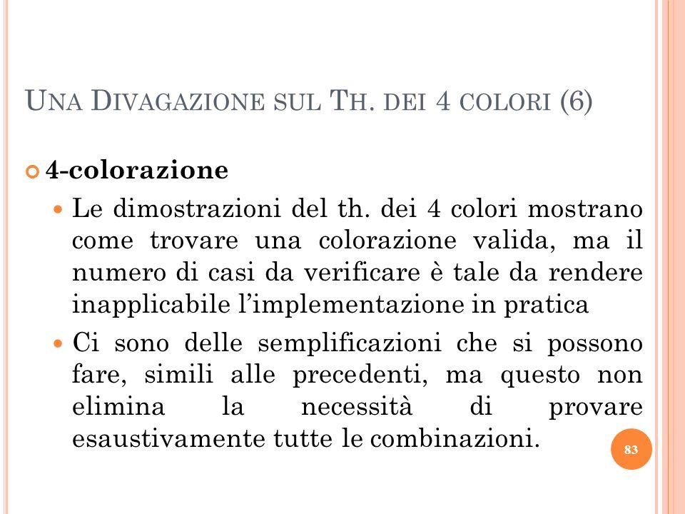 4-colorazione Le dimostrazioni del th. dei 4 colori mostrano come trovare una colorazione valida, ma il numero di casi da verificare è tale da rendere