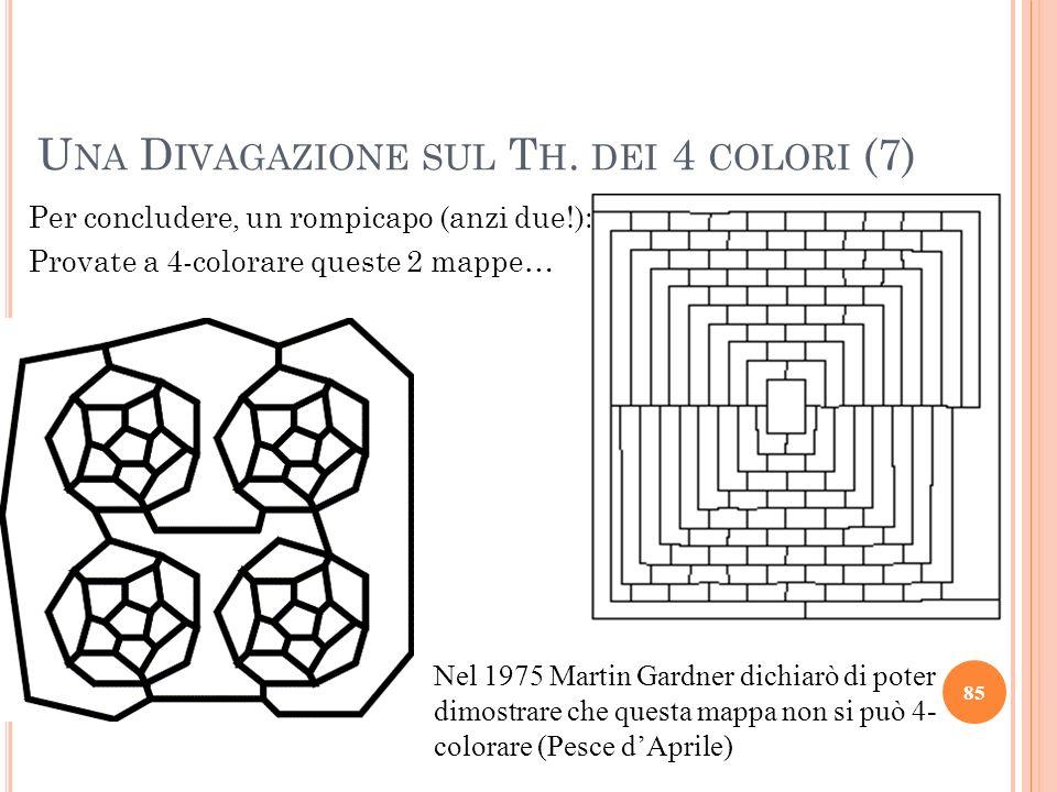 Per concludere, un rompicapo (anzi due!): Provate a 4-colorare queste 2 mappe… 85 U NA D IVAGAZIONE SUL T H. DEI 4 COLORI (7) Nel 1975 Martin Gardner