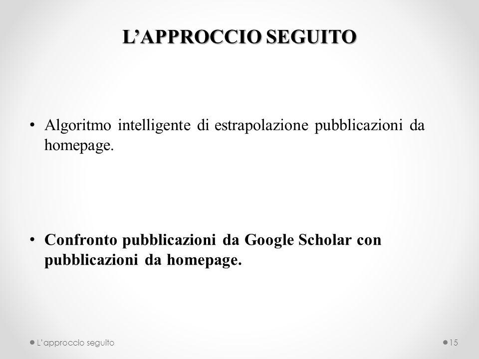 LAPPROCCIO SEGUITO Algoritmo intelligente di estrapolazione pubblicazioni da homepage. Confronto pubblicazioni da Google Scholar con pubblicazioni da