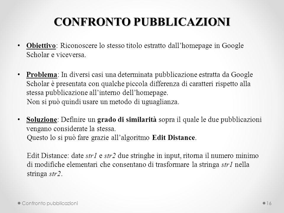 CONFRONTO PUBBLICAZIONI Obiettivo: Riconoscere lo stesso titolo estratto dallhomepage in Google Scholar e viceversa.