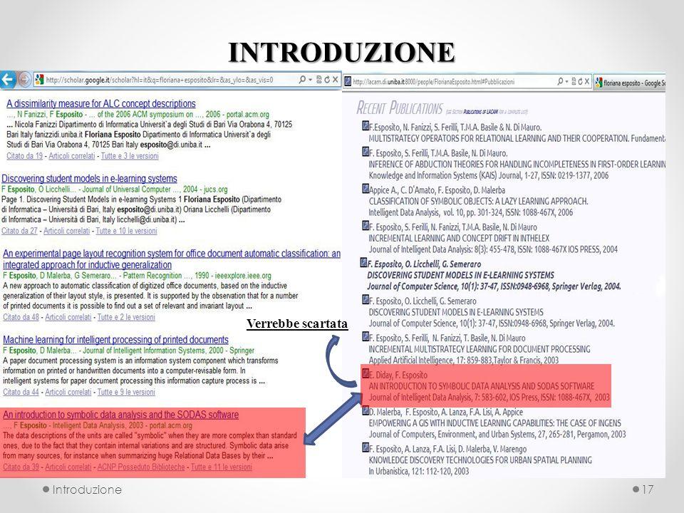 INTRODUZIONE Introduzione17 Verrebbe scartata