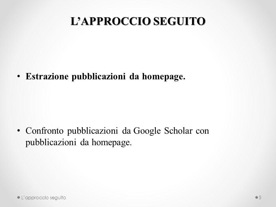LAPPROCCIO SEGUITO Estrazione pubblicazioni da homepage. Confronto pubblicazioni da Google Scholar con pubblicazioni da homepage. Lapproccio seguito5