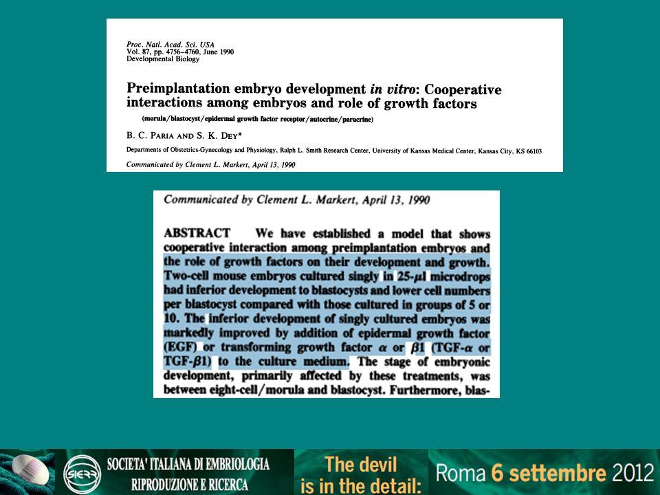 Ultramicrodrops (Ali J et al., 2004) confining embryos to a very small area and taking advantage of beneficial autocrine/paracrine factors 7-9 embrioni umani in gocce da 1.5–2.0 l coltura continua per 2-3gg Effetti positivi su parametri preimpianto e su outcome clinico Altri autori riportano effetti negativi