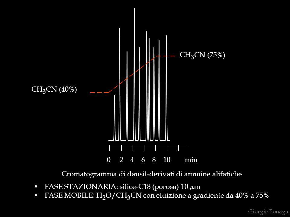 Giorgio Bonaga Cromatogramma di dansil-derivati di ammine alifatiche FASE STAZIONARIA: silice-C18 (porosa) 10 m FASE MOBILE: H 2 O/CH 3 CN con eluizione a gradiente da 40% a 75% 0 2 4 6 8 10 min CH 3 CN (75%) CH 3 CN (40%)