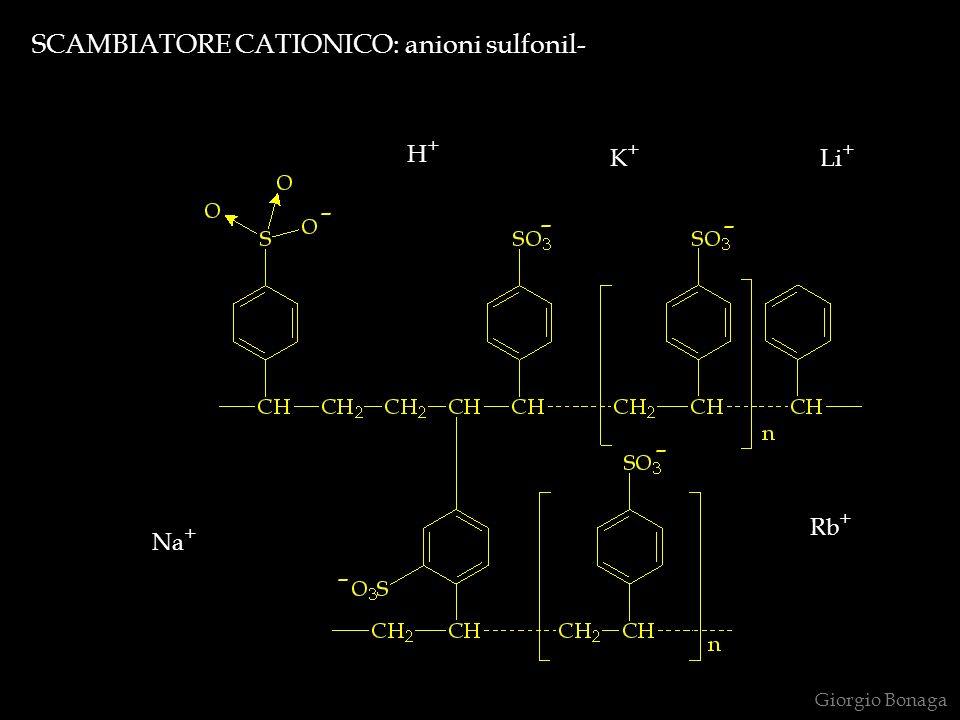 SCAMBIATORE CATIONICO: anioni sulfonil- H+H+ Na + Rb + K+K+ Li + Giorgio Bonaga