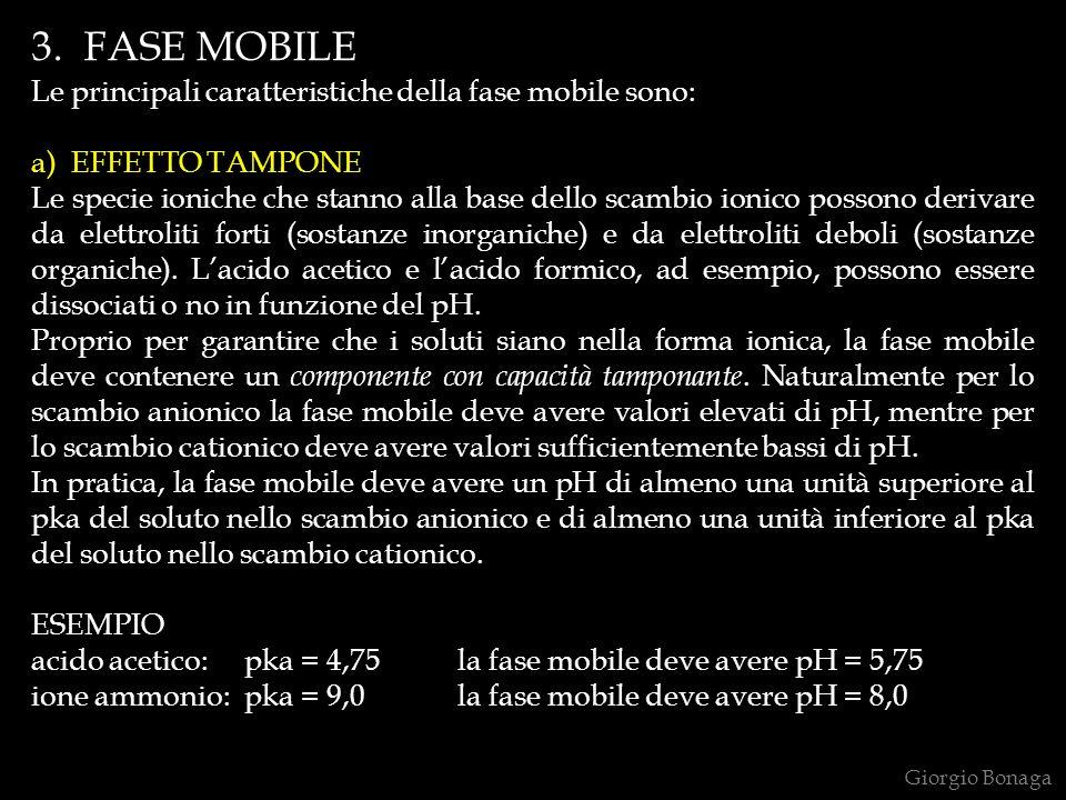 3. FASE MOBILE Le principali caratteristiche della fase mobile sono: a) EFFETTO TAMPONE Le specie ioniche che stanno alla base dello scambio ionico po