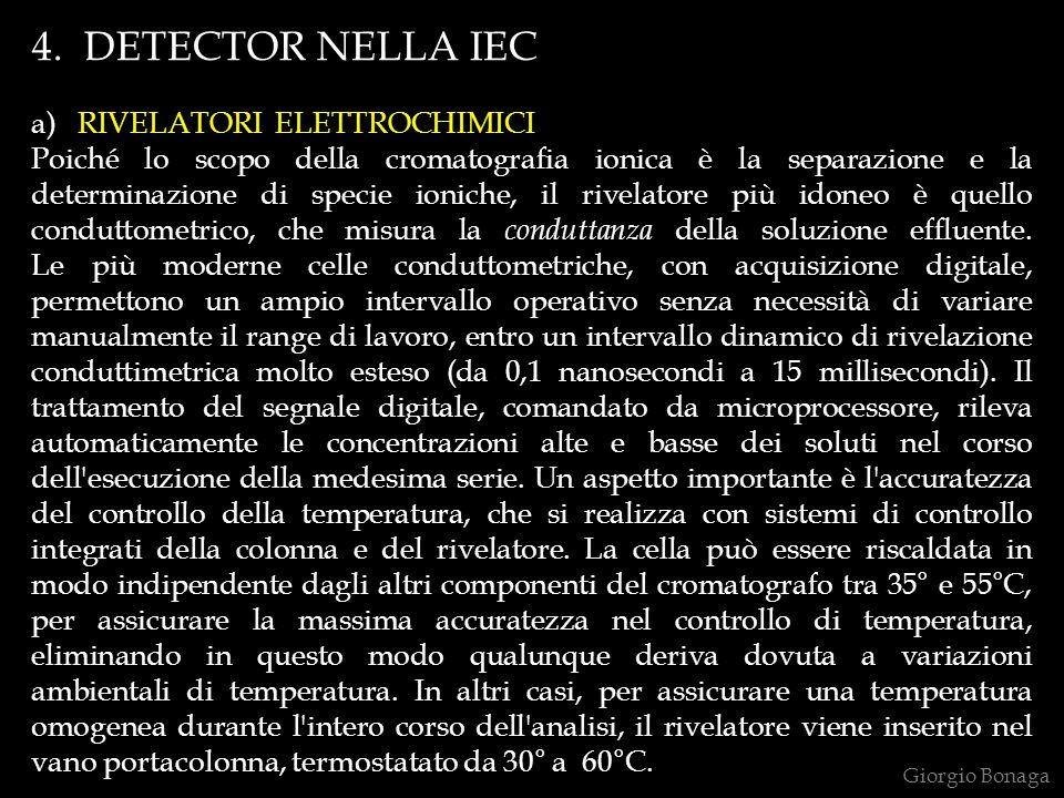 4. DETECTOR NELLA IEC a) RIVELATORI ELETTROCHIMICI Poiché lo scopo della cromatografia ionica è la separazione e la determinazione di specie ioniche,