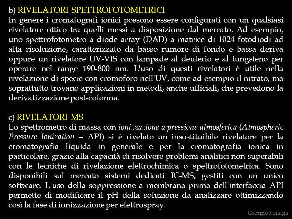 b) RIVELATORI SPETTROFOTOMETRICI In genere i cromatografi ionici possono essere configurati con un qualsiasi rivelatore ottico tra quelli messi a disposizione dal mercato.