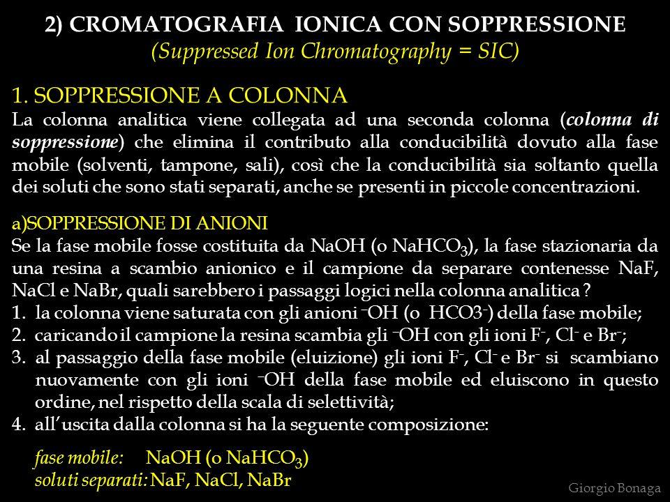 Giorgio Bonaga 2) CROMATOGRAFIA IONICA CON SOPPRESSIONE (Suppressed Ion Chromatography = SIC) 1. SOPPRESSIONE A COLONNA La colonna analitica viene col