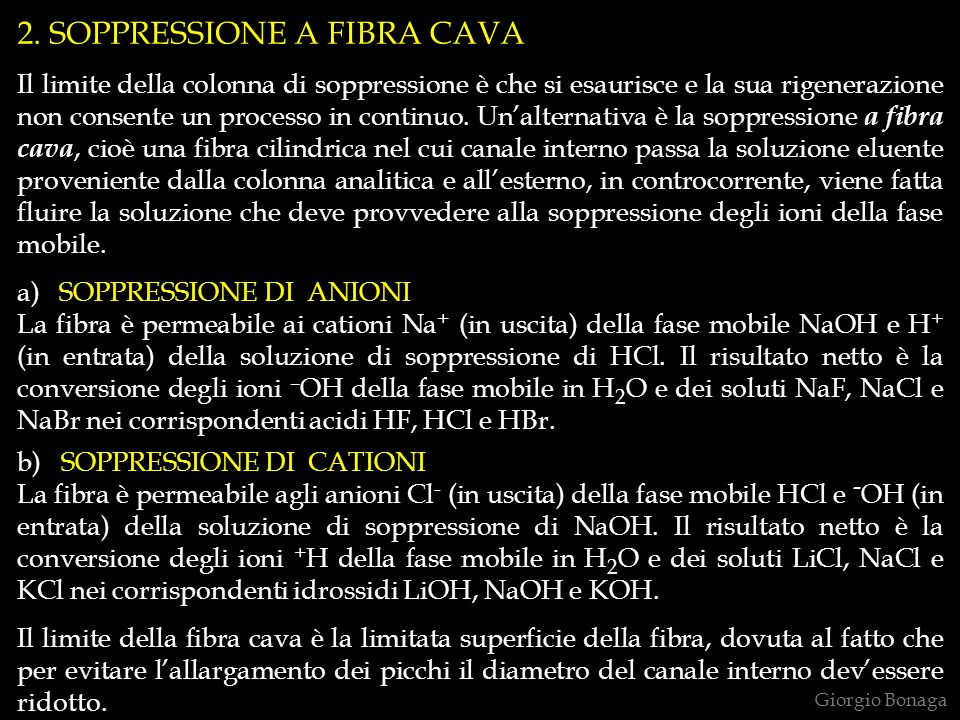 Giorgio Bonaga 2. SOPPRESSIONE A FIBRA CAVA Il limite della colonna di soppressione è che si esaurisce e la sua rigenerazione non consente un processo