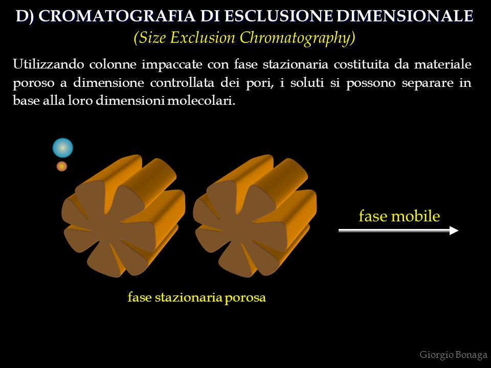 Giorgio Bonaga fase mobile fase stazionaria porosa D) CROMATOGRAFIA DI ESCLUSIONE DIMENSIONALE (Size Exclusion Chromatography) D) CROMATOGRAFIA DI ESCLUSIONE DIMENSIONALE (Size Exclusion Chromatography) Utilizzando colonne impaccate con fase stazionaria costituita da materiale poroso a dimensione controllata dei pori, i soluti si possono separare in base alla loro dimensioni molecolari.