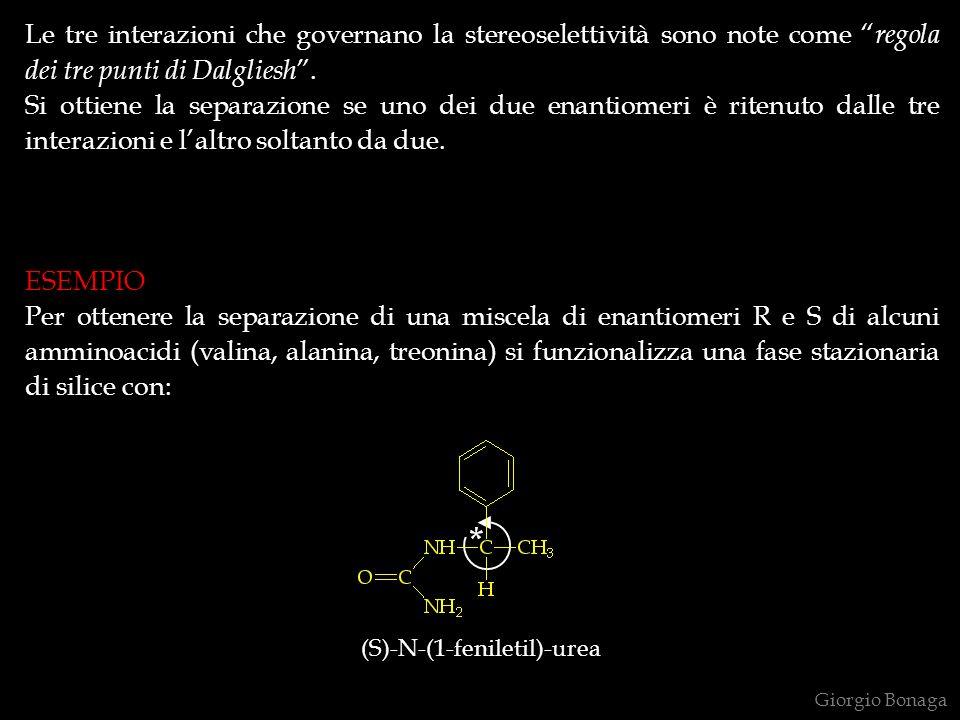 Le tre interazioni che governano la stereoselettività sono note come regola dei tre punti di Dalgliesh. Si ottiene la separazione se uno dei due enant