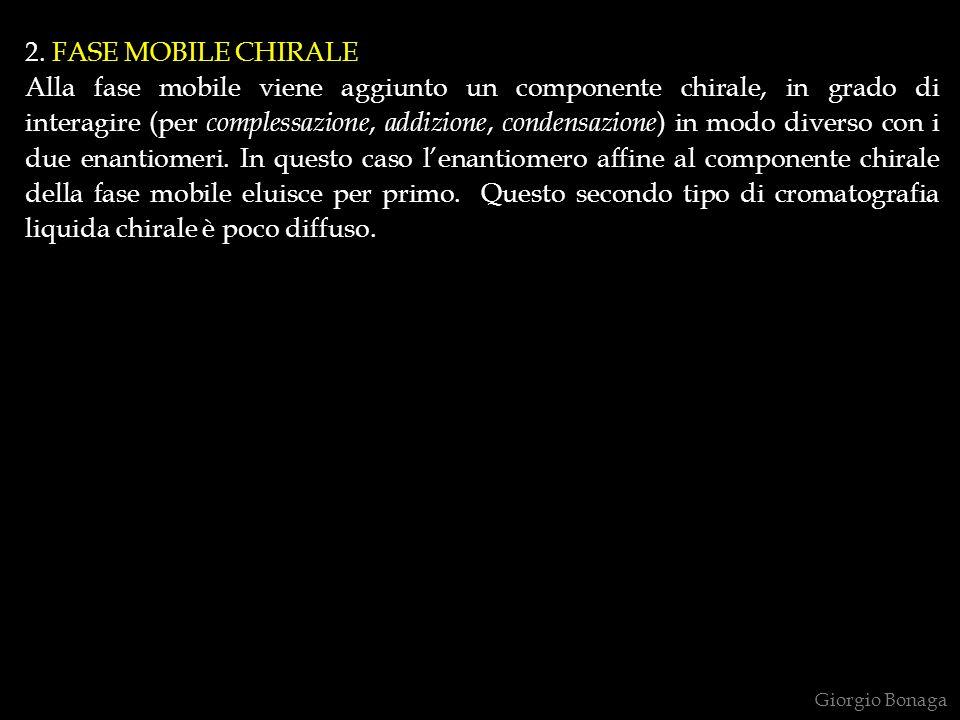 2. FASE MOBILE CHIRALE Alla fase mobile viene aggiunto un componente chirale, in grado di interagire (per complessazione, addizione, condensazione ) i