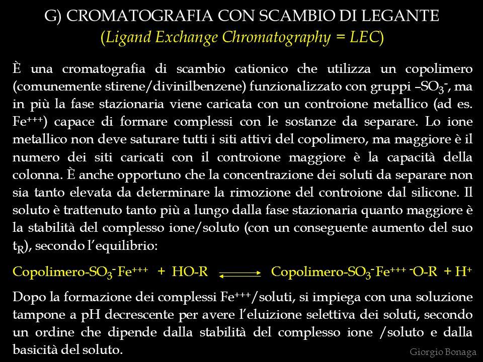G) CROMATOGRAFIA CON SCAMBIO DI LEGANTE ( Ligand Exchange Chromatography = LEC ) È una cromatografia di scambio cationico che utilizza un copolimero (