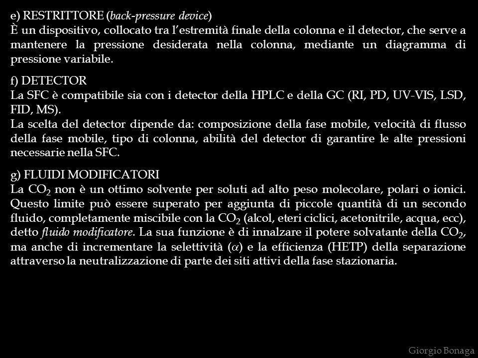 e) RESTRITTORE ( back-pressure device ) È un dispositivo, collocato tra lestremità finale della colonna e il detector, che serve a mantenere la pressione desiderata nella colonna, mediante un diagramma di pressione variabile.