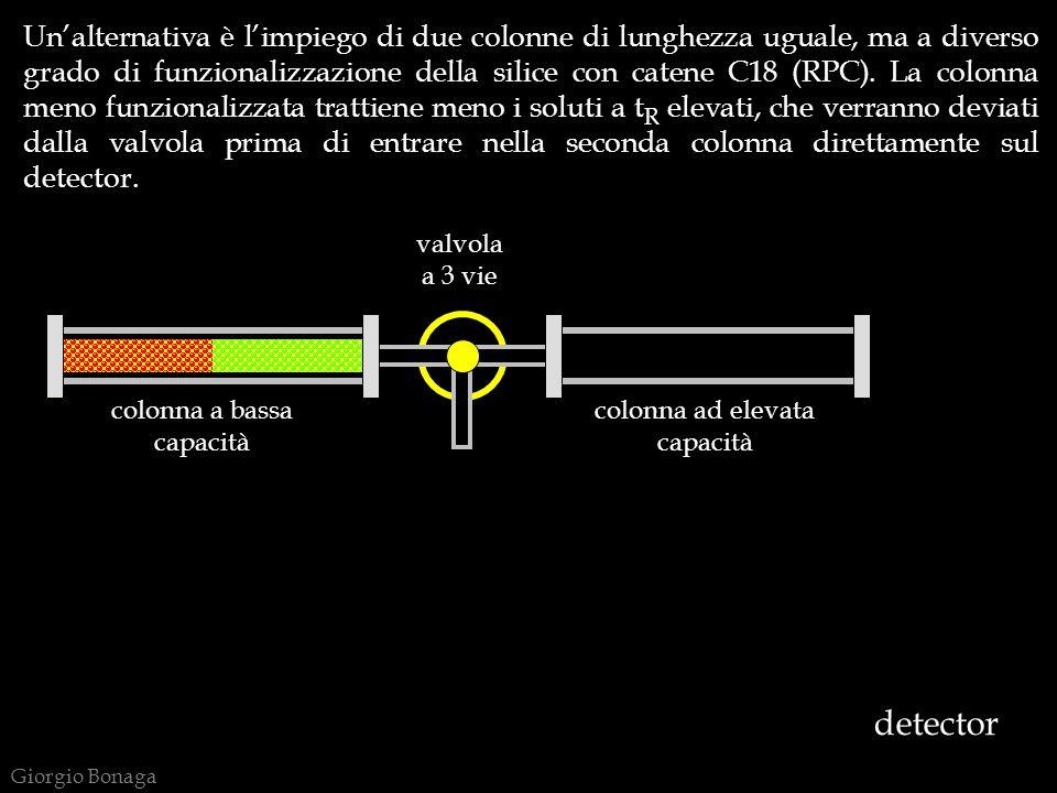Giorgio Bonaga detector colonna a bassa capacità colonna ad elevata capacità valvola a 3 vie Unalternativa è limpiego di due colonne di lunghezza uguale, ma a diverso grado di funzionalizzazione della silice con catene C18 (RPC).