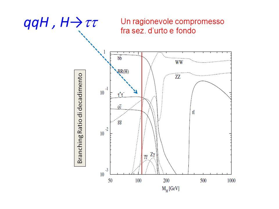 qqH, H Branching Ratio di decadimento Un ragionevole compromesso fra sez. durto e fondo