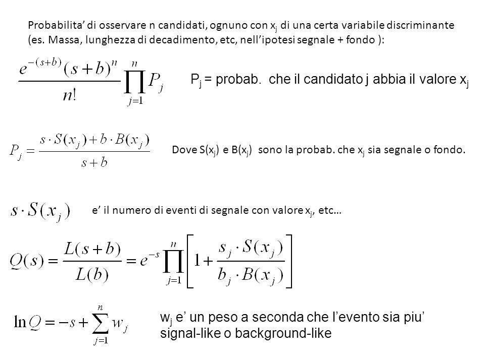Probabilita di osservare n candidati, ognuno con x j di una certa variabile discriminante (es.