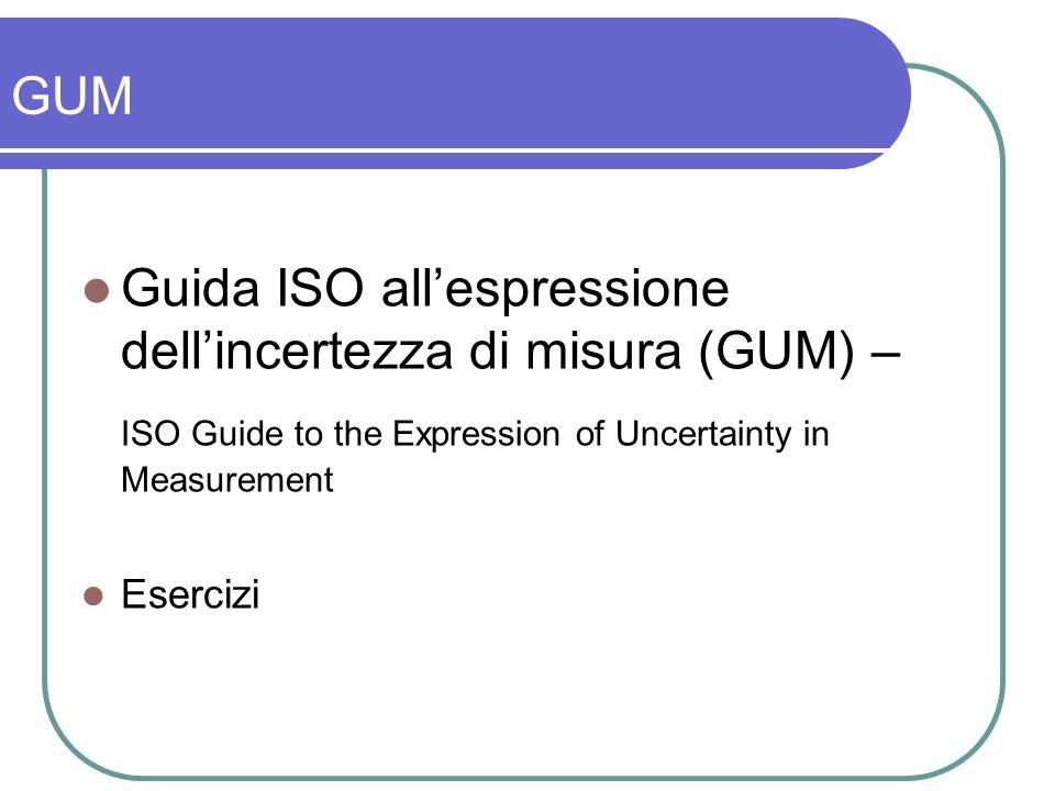 GUM Guida ISO allespressione dellincertezza di misura (GUM) – ISO Guide to the Expression of Uncertainty in Measurement Esercizi