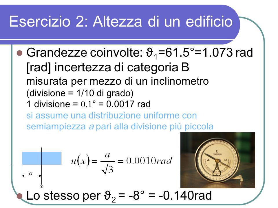 Esercizio 2: Altezza di un edificio Grandezze coinvolte: ϑ 1 =61.5°=1.073 rad [rad] incertezza di categoria B misurata per mezzo di un inclinometro (d