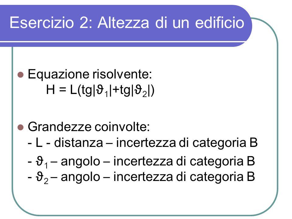 Esercizio 2: Altezza di un edificio Equazione risolvente: H = L(tg|ϑ 1 |+tg|ϑ 2 |) Grandezze coinvolte: - L - distanza – incertezza di categoria B - ϑ