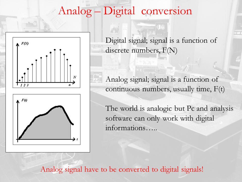Analog – Digital conversion Digital signal; signal is a function of discrete numbers, F(N) Analog signal; signal is a function of continuous numbers,