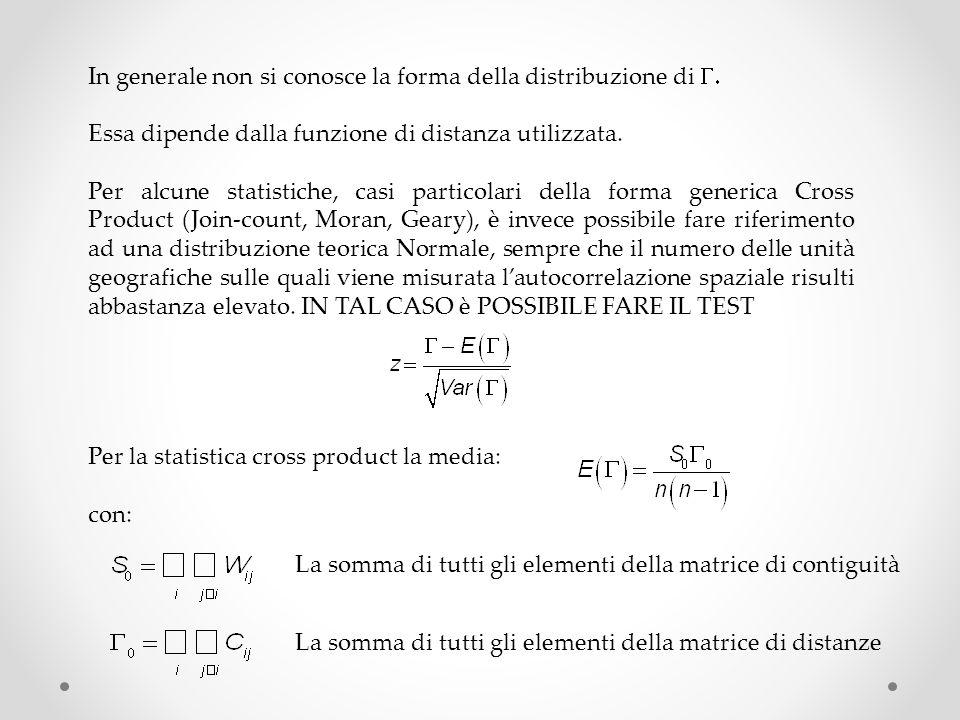 In generale non si conosce la forma della distribuzione di Essa dipende dalla funzione di distanza utilizzata. Per alcune statistiche, casi particolar