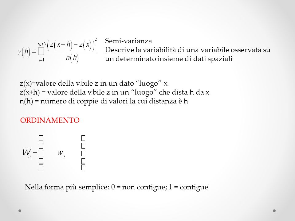 CONTIGUITA Se si tratta di puntiUna possibile strategia: poligoni di Thiessen metodo che ad ogni dato puntuale associa unarea: lo spazio allinterno di quellarea assume i valori più simili a quello del valore puntuale che a quello di qualsiasi altro punto 1)Triangoli di Delaunay (vicino più vicino) 2)Rette perpendicolari costruite sui baricentri 3)Punti dincontro = vertici dei poligoni W