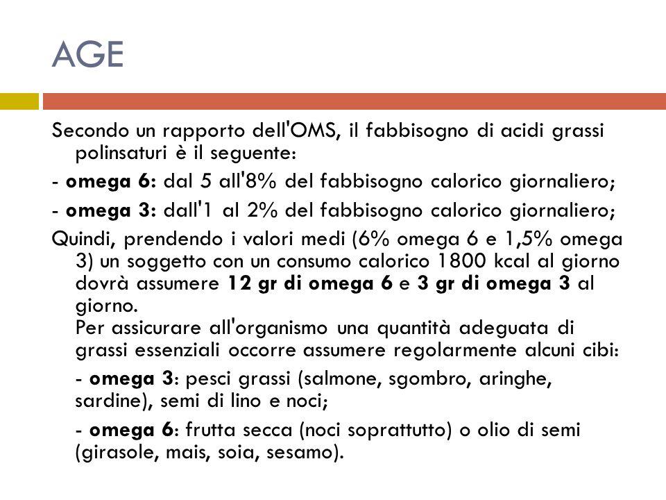 AGE Secondo un rapporto dell'OMS, il fabbisogno di acidi grassi polinsaturi è il seguente: - omega 6: dal 5 all'8% del fabbisogno calorico giornaliero